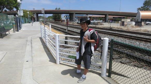 Waiting to board the Amtrak in Camarillo, CA.