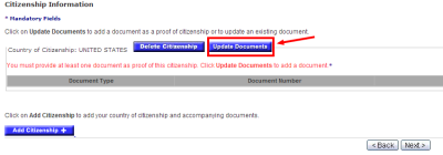 """Click """"Update Documents"""" to add your information."""