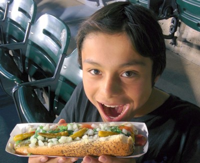 My son enjoying a Chicago Hot Dog during a recent visit.