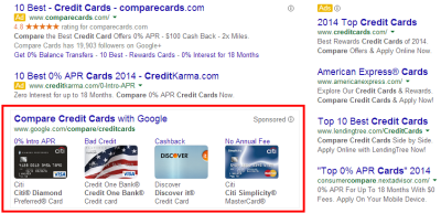 Google is advertising their own affiliate credit card comparison service.