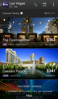 Las Vegas hotels for a Sunday-Tuesday booking.