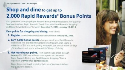 Southwest Rapid Rewards Dining Bonus
