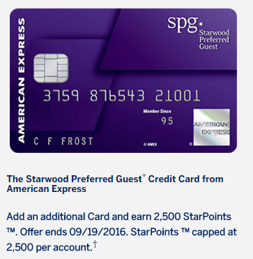 SPG Amex 2,500 Free Points