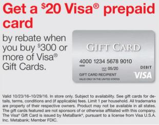 Staples Visa Gift Card Rebate Deal