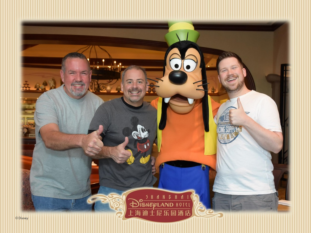Karl and friends at the character breakfast at the Shanghai Disneyland Hotel.