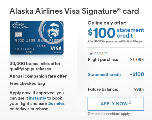 Alaska Airlines Visa Best Offer With Statement Credit