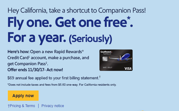 CA southwest companion pass
