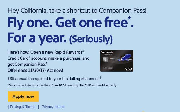 CA southwest companion pass