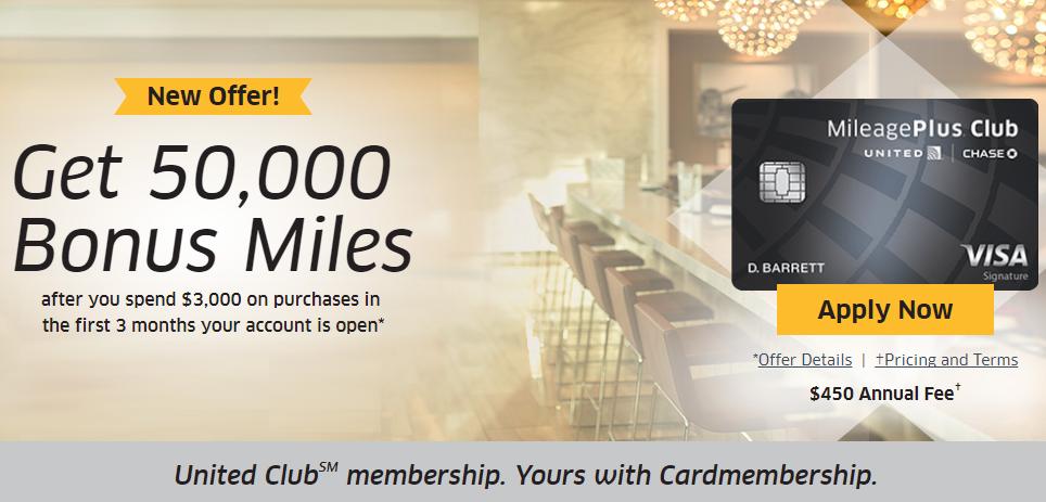 United MileagePlus Club Card, 50K Bonus