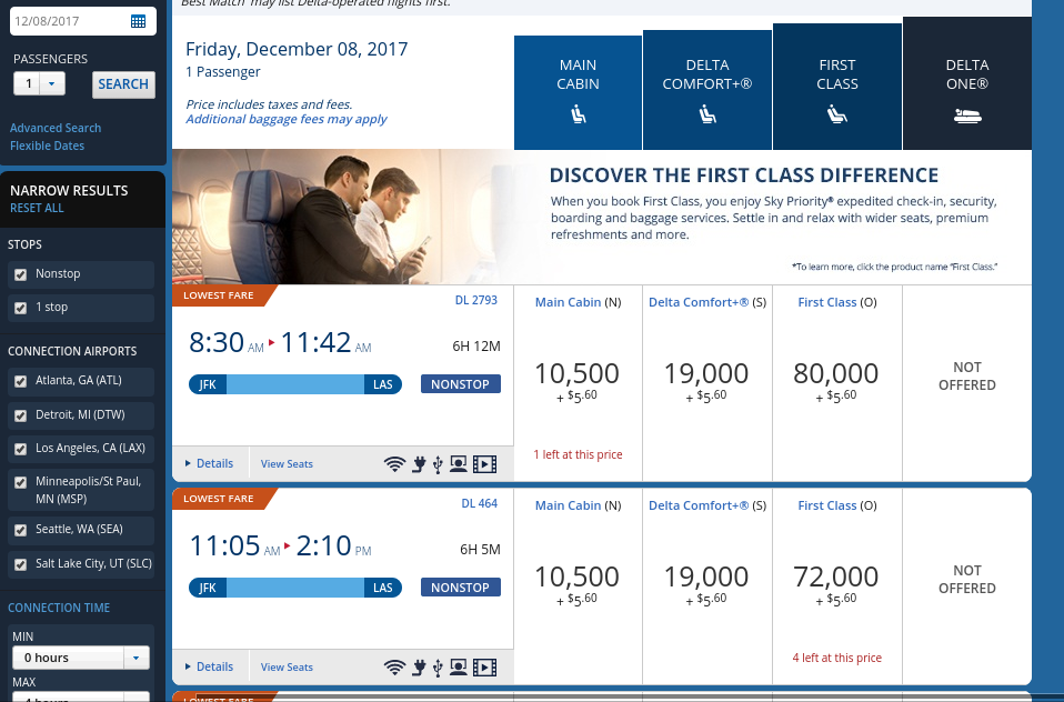Award Ticket Redemption Process- Booking NYC to LAS