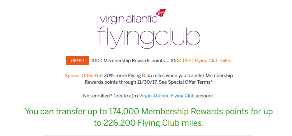 Virgin Atlantic Flying Club Transfer Bonus