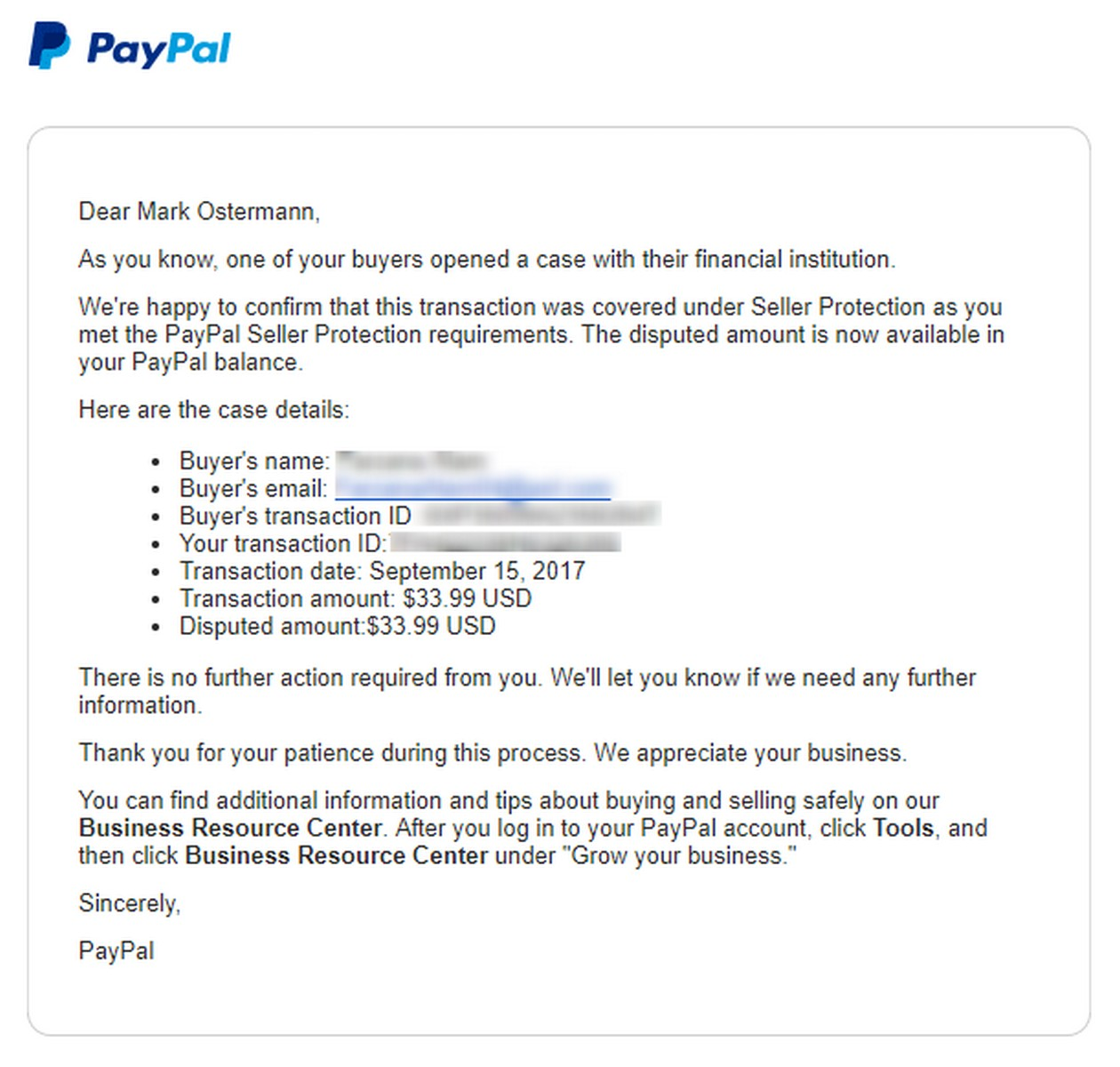 Dealing With A PayPal Chargeback