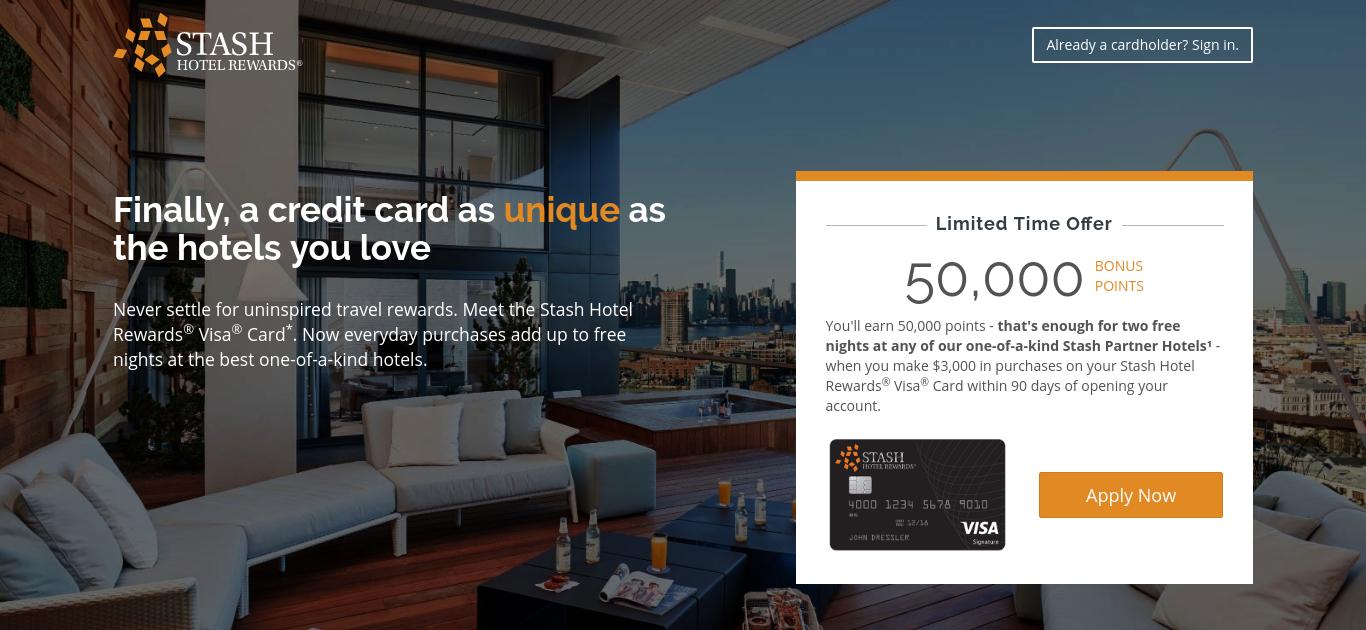 Stash Hotel Rewards Credit Card, New 50,000 Point Bonus