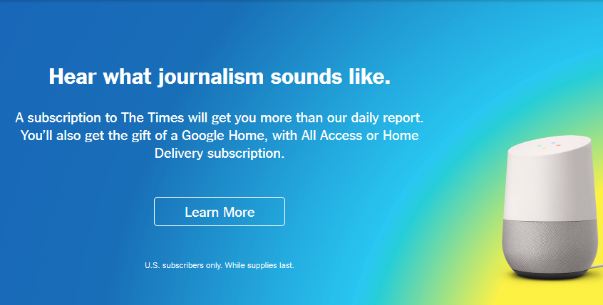 New York Times free google home