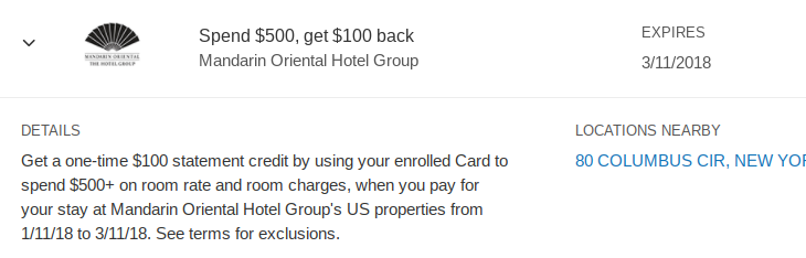Amex Offers: Hotels
