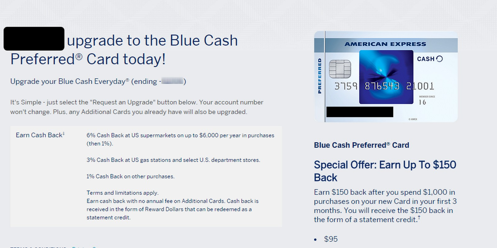 Upgrade Offer for American Express Blue Cash Everyday