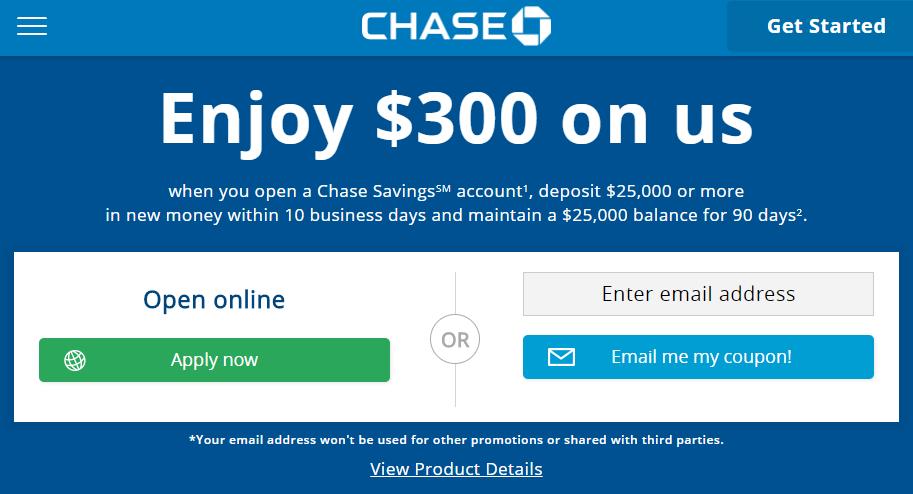 $300 Chase Savings Bonus