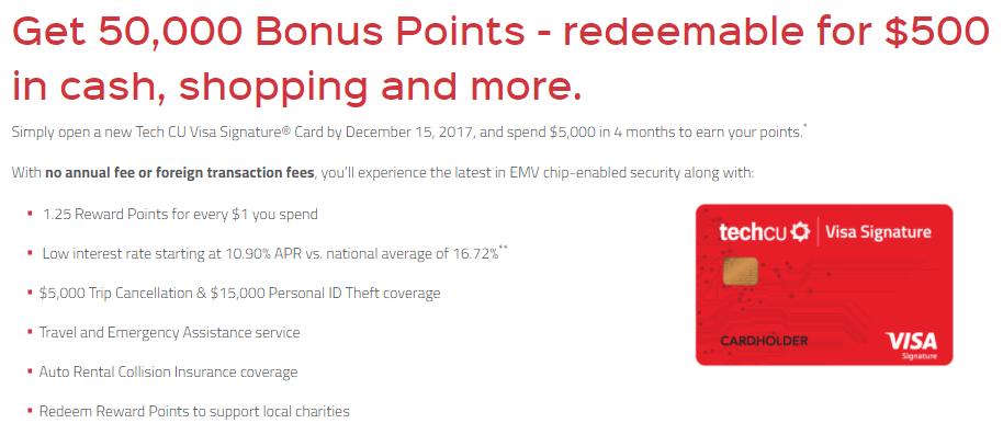 Tech CU Visa 500 bonus
