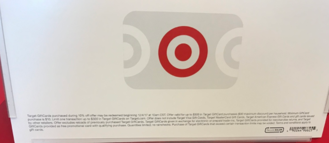 Confirmed: Target Gift Card Sale- 10% Off One Day Only