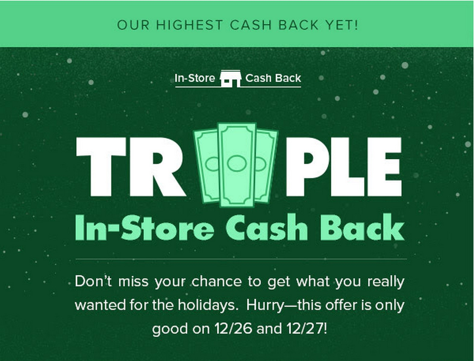 Ebates Triples in Store Cashback