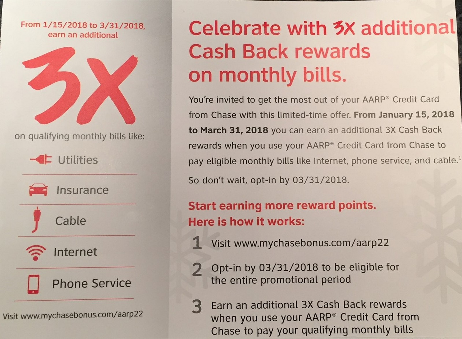 Chase Sends Out Chase AARP Spending Offers