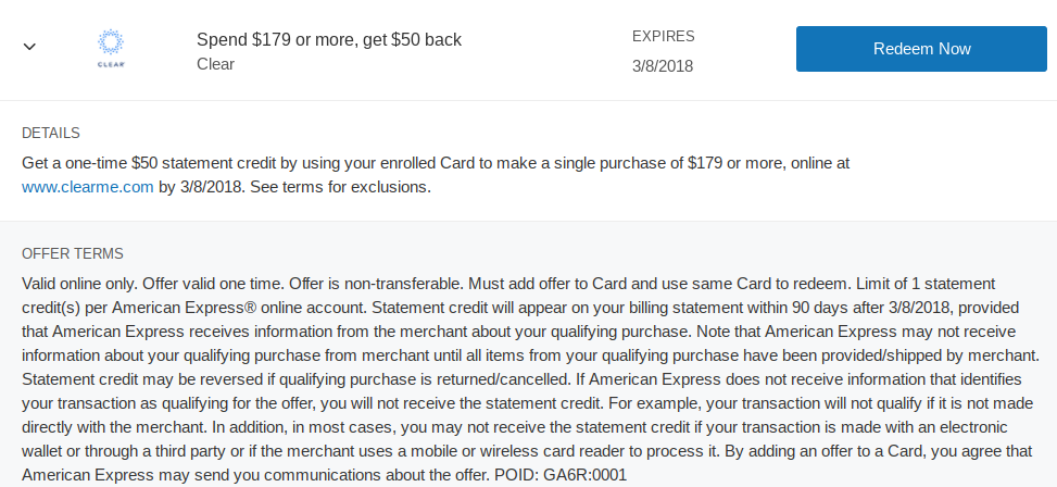 Amex Offer: $50 Off Clear Membership