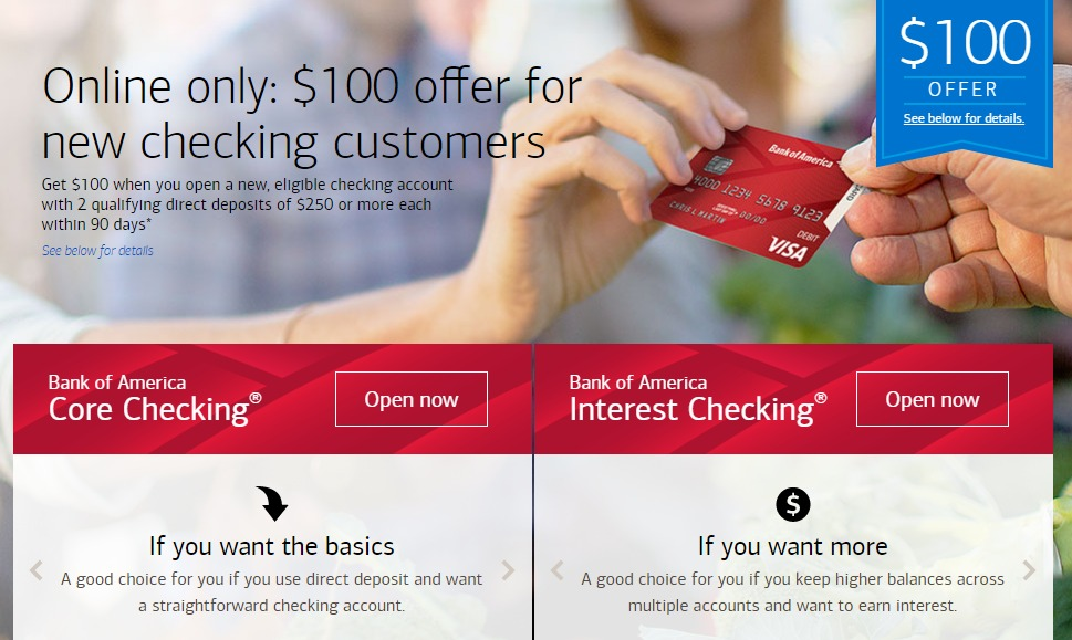 Bank of America, $100 Checking Account Bonus