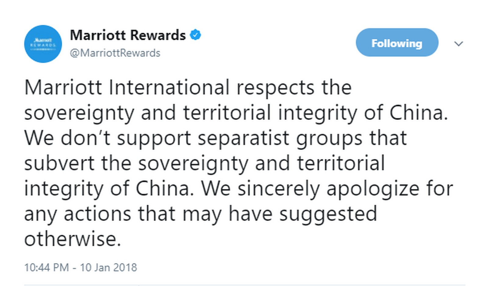 China Shuts Down Marriott Website After Questionnaire