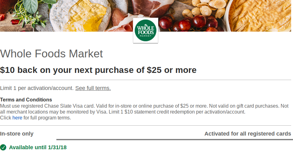New Chase Offers Including Whole Foods, Starbucks