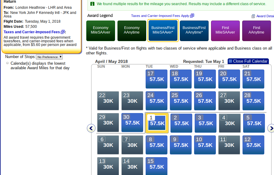 MileSAAver Award Ticket Availability: Business Class
