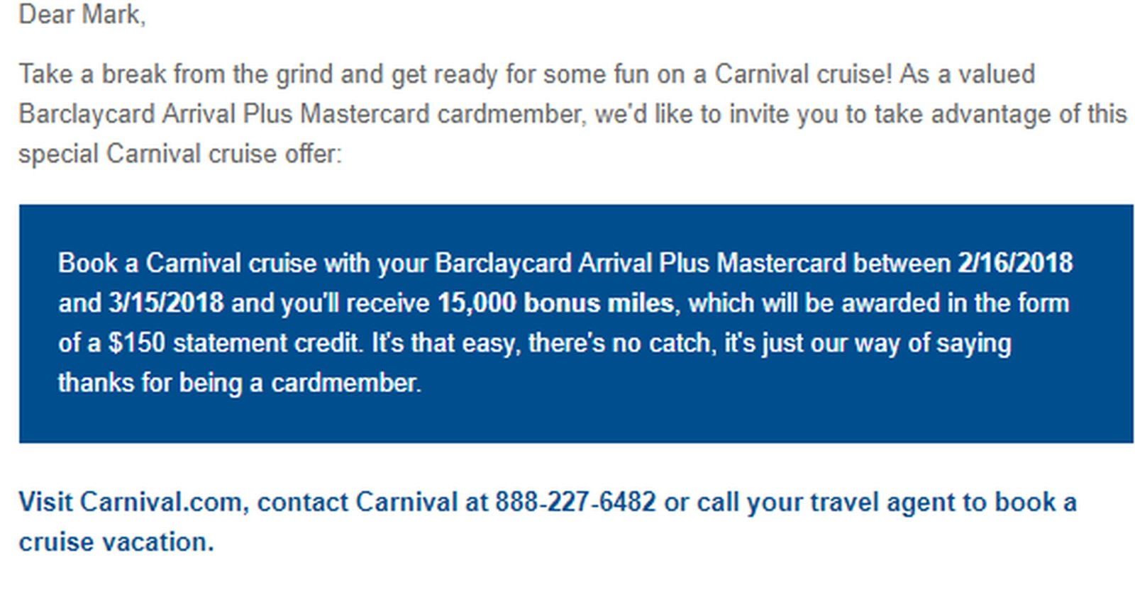 15,000/$150 Carnival Cruise Offer on Barclay Cards