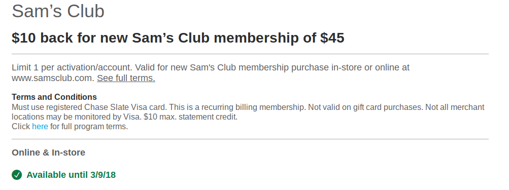 New Chase Offers Including Sam S Club