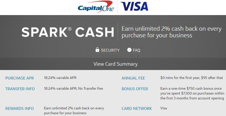 Capital One Spark Cash 750 bonus