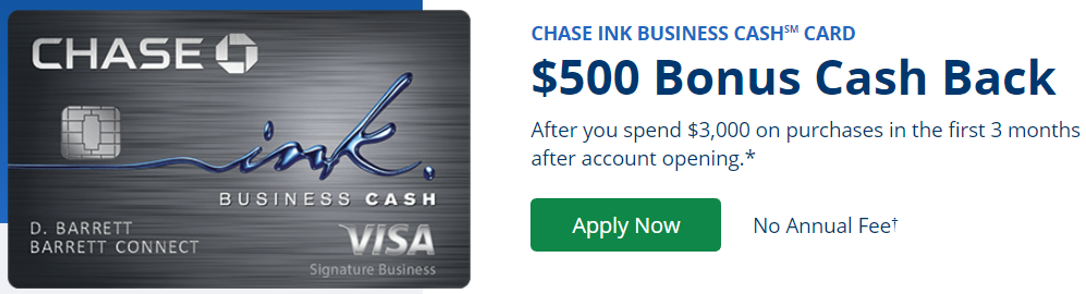 Chase Ink Cash 500 bonus