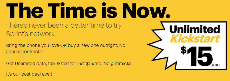 Sprint $15 Unlimited Kickstart Plan