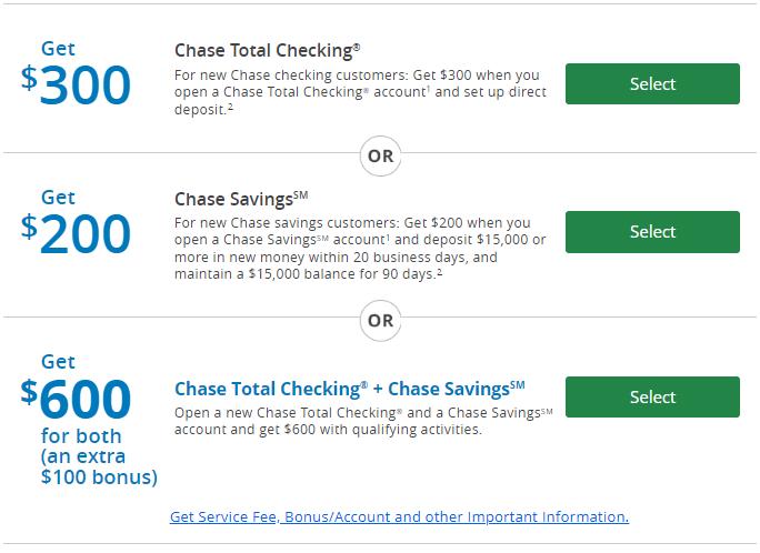 chase $600 bonus