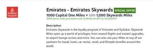 Transfer Capital One Miles to Emirates with 100% Bonus