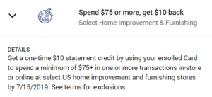 amex offer home depot lowe's