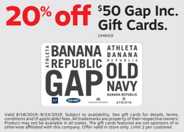 staples gap 20% off