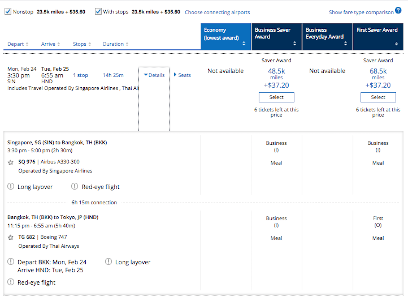 Maximizing the new United Business Card to fly Thai first class