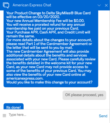 Downgrade Delta Gold to Delta Blue to avoid waiting on the phone