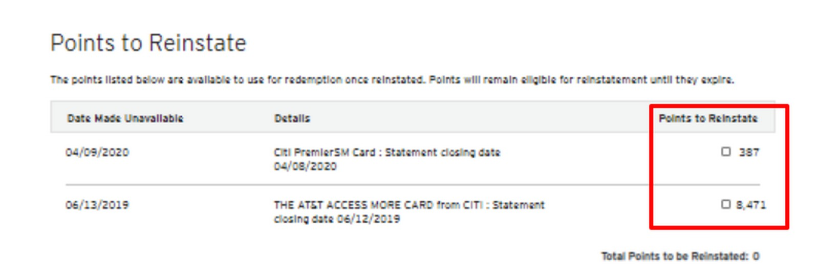 Check Your Citi ThankYou Point Accounts